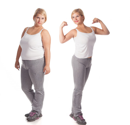 krásné tlustá žena před a po hubnutí. omlazení Reklamní fotografie