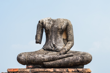 Broken ancient Buddha statue,Ancient buddha broken at wat chaiwattanaram ayuthaya thailand