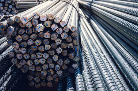 Construction rebar steel work reinforcement in conncrete structure of building.Background texture of steel rods used in construction to reinforce concrete Banco de Imagens - 140889354