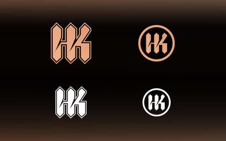 Initials HK logo with a bright color is suitable for E sports teams and others