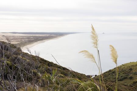 Ninety Mile Beach in Northland, New Zealand from the mountains of the Te Paki Coastal Track. Stock Photo - 136910504