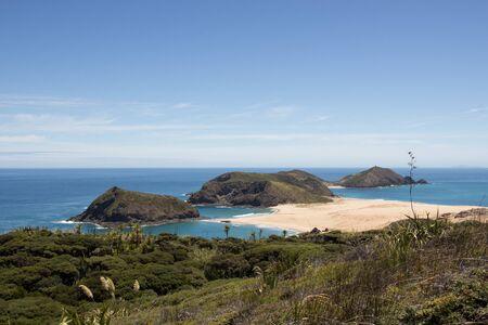 Cape Maria Van Diemen on New Zealands Cape Reinga as seen from the remote Te Paki Coastal Track.