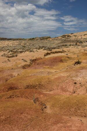 Bright orange, yellow and pink clay hill at Cape Reinga in New Zealand, beside Cape Maria Van Diemen Stock Photo