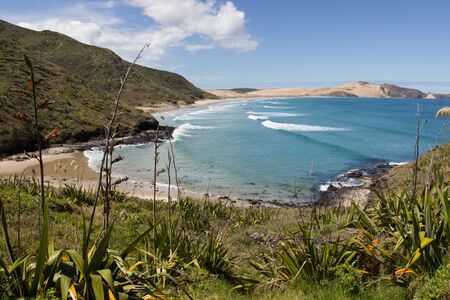 Te Werahi Beach and Cape Maria Van Diemen from the Te Paki Coastal Track in Northland, New Zealand. Stock Photo - 136910514
