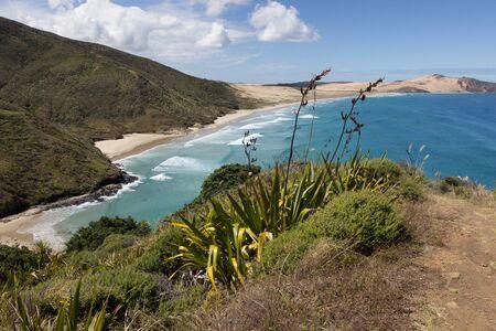 View over Te Werahi Beach and Cape Maria Van Diemen of Cape Reinga, Northland, New Zealand.