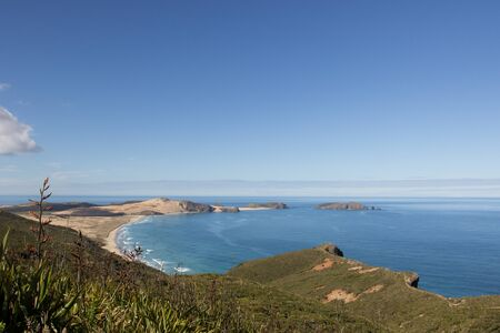View from Cape Reinga to Te Werahi Beach and Cape Maria Van Diemen in Northland, New Zealand. Stock Photo