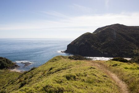 Morning view over the seaside mountains and ocean from the Te Paki Coastal Track in Northland, New Zealand. The hillside is covered with grass and a narrow trail, with the blue sea in the distance. Stock Photo