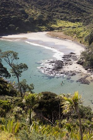 An aerial view of the shallow greenwaters of the remote Sandy Bay on Cape Reinga, Northland, New Zealand. Taken from the surrounding mountains of the Te Paki Coastal Track, with cabbage trees. Stock Photo - 136910572