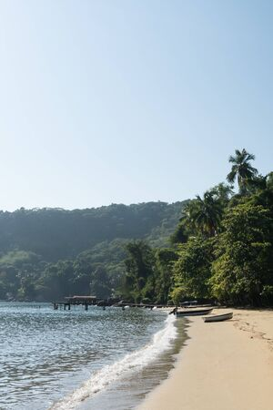 Early morning at Praia do Pouso Beach, Ilha Grande island, state of Rio de Janeiro, Brazil, on the trail to Praia Lopes Mendes. There is a tropical jungle and palm trees against the sand, with boats.
