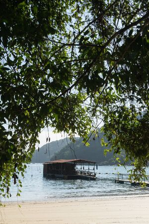Early morning at Praia do Pouso Beach, Ilha Grande island in the state of Rio de Janeiro, Brazil, on the trail to Praia Lopes Mendes. A small floating building in the water is framed by hanging leaves