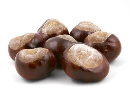 Bunch of chestnuts. Isolated on white.