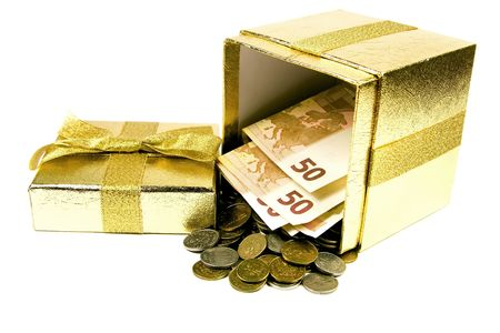 Euro money in golden gift box isolated on white. photo