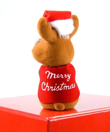 Small christmas reindeer sitting on red box. photo