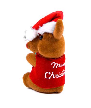 huggable: Christmas mascot isolated on white. Small reindeer. Stock Photo