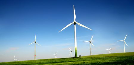 Wind turbines farm. Alternative energy source.  Stock Photo