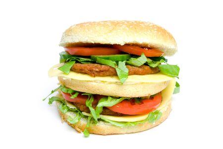 Tasty double hamburger isolated on white background.