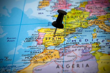 Small pin pointing on Madrid (Spain) in a map of Europe Stock Photo