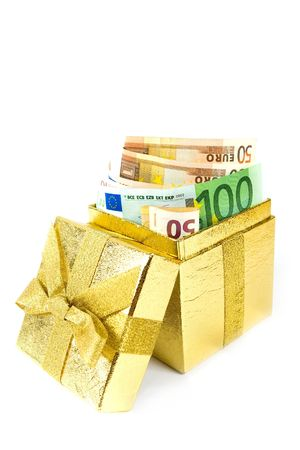 inherit: Euro money in golden gift box isolated on white.