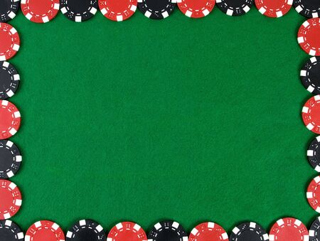 Frame with red and black poker chips