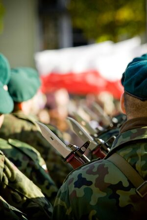 Polish army forces. Troops review in Wroclaw. photo