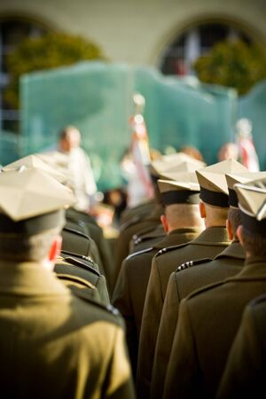 troops: Polish army forces. Troops review in Wroclaw.