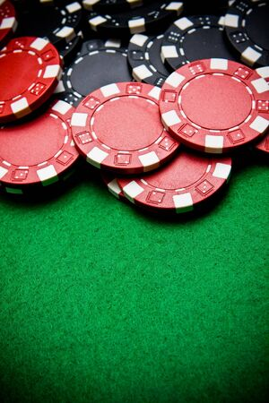Casino gambling chips with copy space - vignette