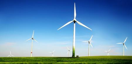 Wind turbines farm. Alternative energy source.  Zdjęcie Seryjne