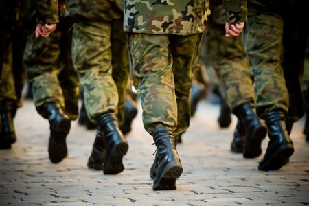 military: Soldiers march in formation Stock Photo