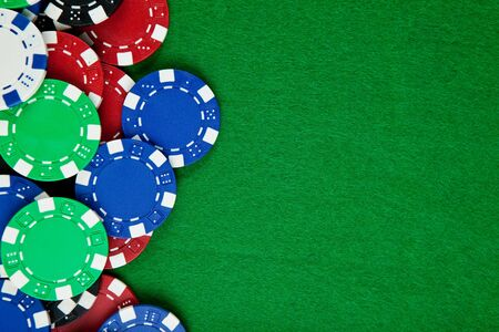 Casino gambling chips with copy space photo