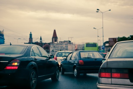 stopped: Traffic jam - panic on the streets Stock Photo
