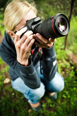 Nature photographer at work photo