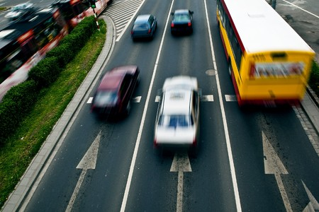 Cars in motion blur on a street of Wroclaw - city with the biggest traffic jams in Europe  Stock Photo