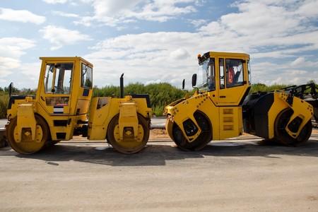 vibroroller: Heavy Vibration roller at asphalt pavement works (road repairing)