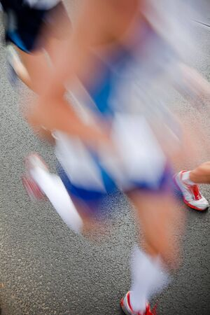 Man running in city marathon - motion blur Stock Photo - 7823600