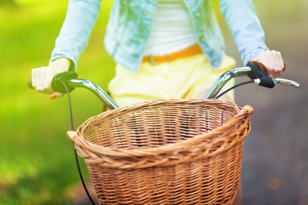 Bicycle with wicker basket photo
