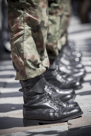 Army parade - military force uniform soldier boot row  photo