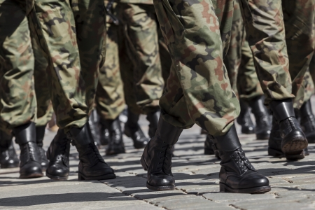 Soldiers march in formation photo