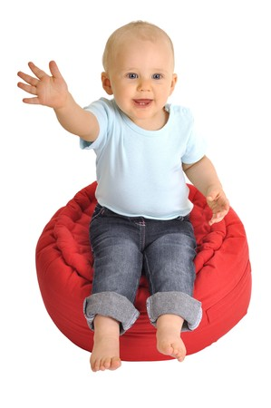 resolute: baby on red chair is making hello