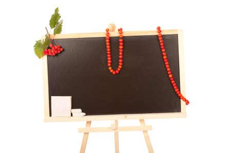 rowanberry: Blackboard in studio with ripe red rowanberry