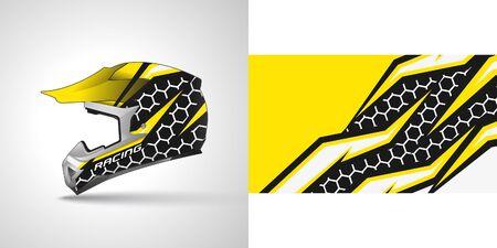 Racing helmet wrap decal and vinyl sticker design illustration. Vetores