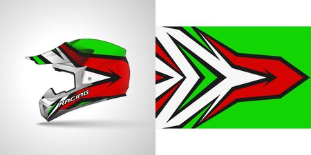 Racing helmet wrap decal and vinyl sticker design illustration.