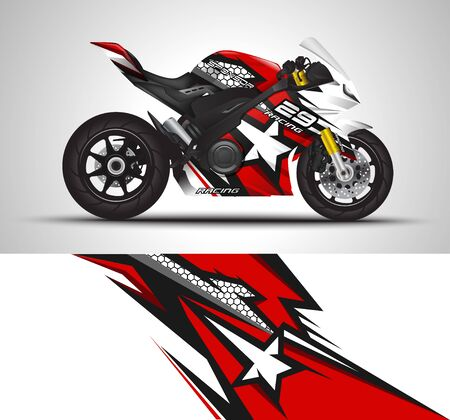 Racing motorcycle wrap decal and vinyl sticker design.