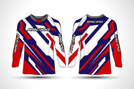 Long sleeve t-shirt sport motocroos jersey Vektorové ilustrace