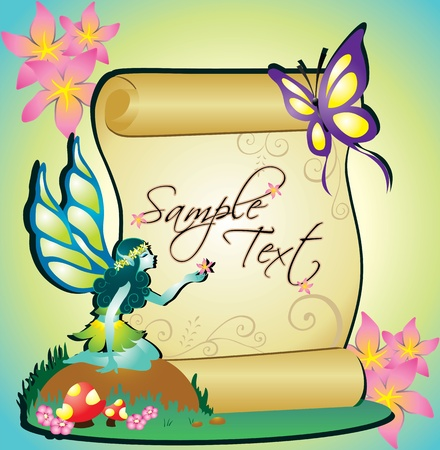 illustration of a fairy with banner text Stock Vector - 11559442