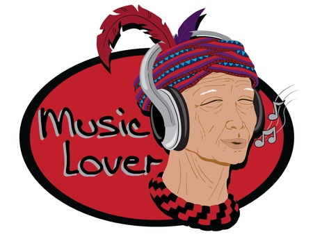 man headset: illustration of an old native man wearing a headset