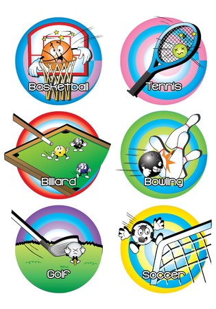 animated illustration of balls used in basketball, tennis, billiards, bowling, golf, and soccer Vector