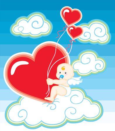 illustration of a baby cupid hugging a big heart Vector