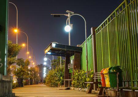 A beautiful night lights on bekasi city sidewalk.