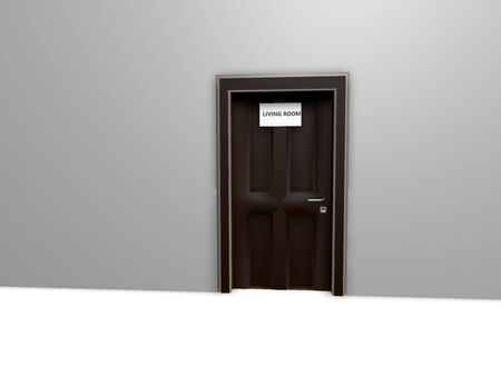 Three-dimensional background with rooms and names