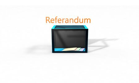 balloting: Referendum election, boxes and envelopes 3d render